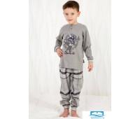 Уютная пижама для мальчика с клетчатыми брюками Happy people