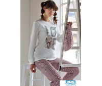 Пижама с надписью LOVE Pop corn D6945 Кремовый 48