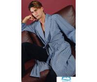 Хлопковый полосатый халат B&B B&B_Misano Голубой 56