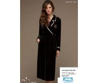 Шикарный велюровый халат c золотой отделкой DiBen Diben_Callas