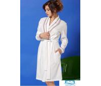 Трикотажный женский халат с поясом Vilfram V_10102 Кремовый 42