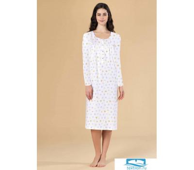 Длинная ночная сорочка с бабочками Linclalor L_73415 Белый 56