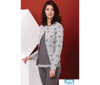 Теплая женская пижама с бантиками Manam V_8142 Серый 42