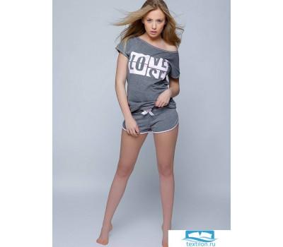 LOVE-SENSIS Пижама женская с шортами S Графит