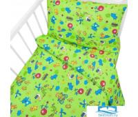 Постельное белье в детскую кроватку 42/2 Зоопарк зеленый с