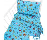 Постельное белье в детскую кроватку 42/4 Зоопарк голубой с