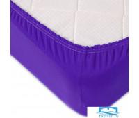 Простыня трикотажная на резинке цвет фиолетовый 120/200/20 см