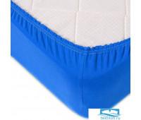 Простыня трикотажная на резинке цвет синий 180/200/20 см