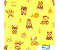 Пелёнка Ночь Нежна Мишка морячок (желт.) 5093-4 Фланель 75х120