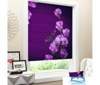 Римские ФОТОшторы габардин 80*170 Цветы магнолии на пурпурном