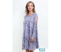 1326 Платье с вырезами на рукавах Природа серый L