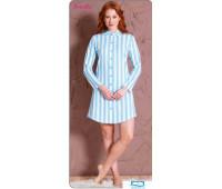 609123 0000 Халат-рубашка длинный рукав Полоска голубой S