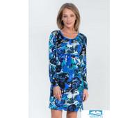 5420505 Платье длинный рукав с пояском вискоза Крупные цветы