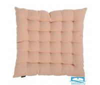Подушка стеганая на стул из умягченного льна розово-пудрового