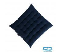 Подушка стеганая на стул из умягченного льна темно-синего цвета