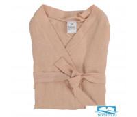 Халат из умягченного льна розово-пудрового цвета из коллекции