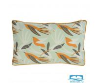 Чехол для подушки мятного цвета с дизайнерским принтом Birds of