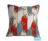 Чехол для подушки с принтом Цветение и декоративной окантовкой