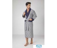 035 Халат мужской  XL серый 50% бамбук 50% хлопок