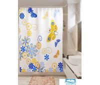 Фотоштора для ванной (джордан 180х200 см - 1 шт) Цветочный узор