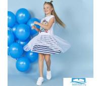 619353 Платье д/дев Juno SS20GJ521 Ocean fans белый/синий р.
