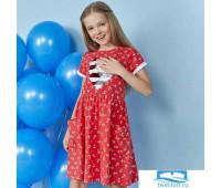 619343 Платье д/дев Juno SS20GJ522 Ocean fans красный/рисунок