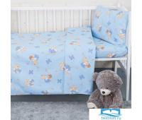 Пододеяльник детский из бязи 1332/1 За медом цвет голубой