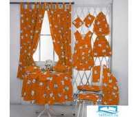 Набор J.C.SILVA: шторы+полотенце+скатерть 150х150 арт.Cafe risc.orange