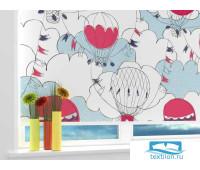 Рулонная штора 'Нарисованные воздушные шары' Ширина: 60 см. Высота: 190 см. управление справа