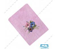 ЭСТЕЛЬ-1 70*140 цветок 3Д розовое полотенце махровое
