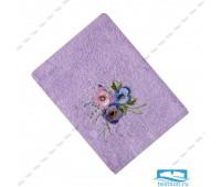 ЭСТЕЛЬ-1 70*140 цветок 3Д сиреневое полотенце махровое