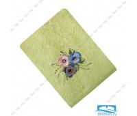 ЭСТЕЛЬ-1 70*140 цветок 3Д зеленое полотенце махровое
