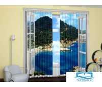 Окно С Видом На Море (Крепление: Шторная лента, Материал Шторы: Габардин, Высота: 260, Ширина: 310) PhSh02-124