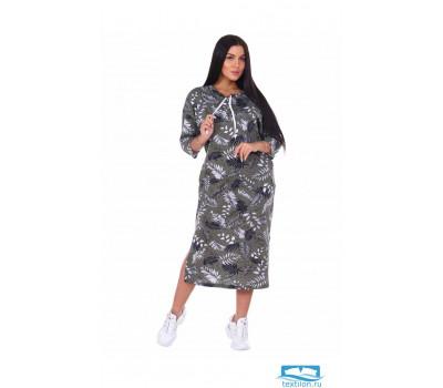 1093 Фрида платье женское 56, листья