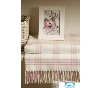 Плед детский 'LUX 519', р-р:100х150см, бахрома, цвет: розовый/белый