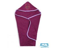 Полотенце-уголок, махра цв фуксия, вышивка Мишка 90х90