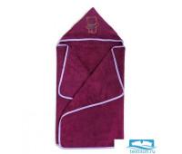 Полотенце с капюшоном, махра цв фуксия, вышивка Мишка 60х120