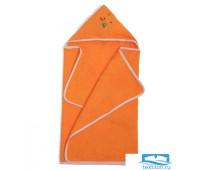 Полотенце с капюшоном, махра цв апельсин, вышивка Мишка 60х120
