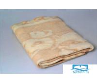 Одеяло шерстяное бежевое 85%шерсть, 15%ПЕ 100x140