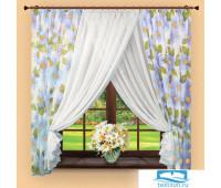 Комплект штор № 043,160х380, подсолнухи-голубой (вуаль)