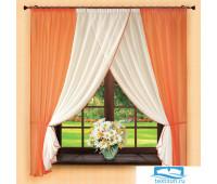 Комплект штор № 053,180х300, оранжевый (вуаль)