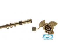 Эксклюзивный карниз Ковка Ø22 однорядный 2,8м Роза закрытый цвет: золото антик