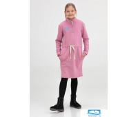 601104 Платье детское миди с воротником-стойкой розовое 152