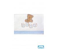 ТЕДДИ 30*60 белое с голубым полотенце махровое