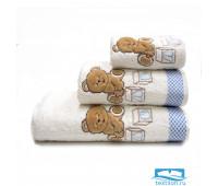 ТЕДДИ 70*140 белое с голубым полотенце махровое