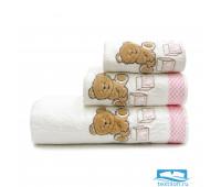 ТЕДДИ 70*140 белое с розовым полотенце махровое