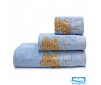 ТЕДДИ 70*140 голубое полотенце махровое