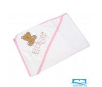 ТЕДДИ 80*80 белое с розовым уголок махровый