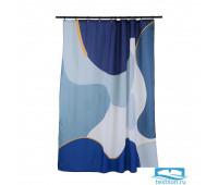 Штора для ванной синего цвета с авторским принтом из коллекции